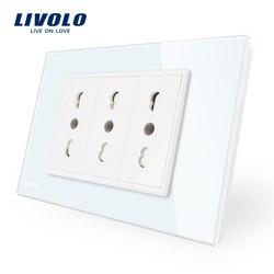 Livolo Италия Стандартный 3 контакта гнездо, белый кристалл Стекло, 16A, 250 В, стены Powerpoints с вилкой VL-C9C3IT-11