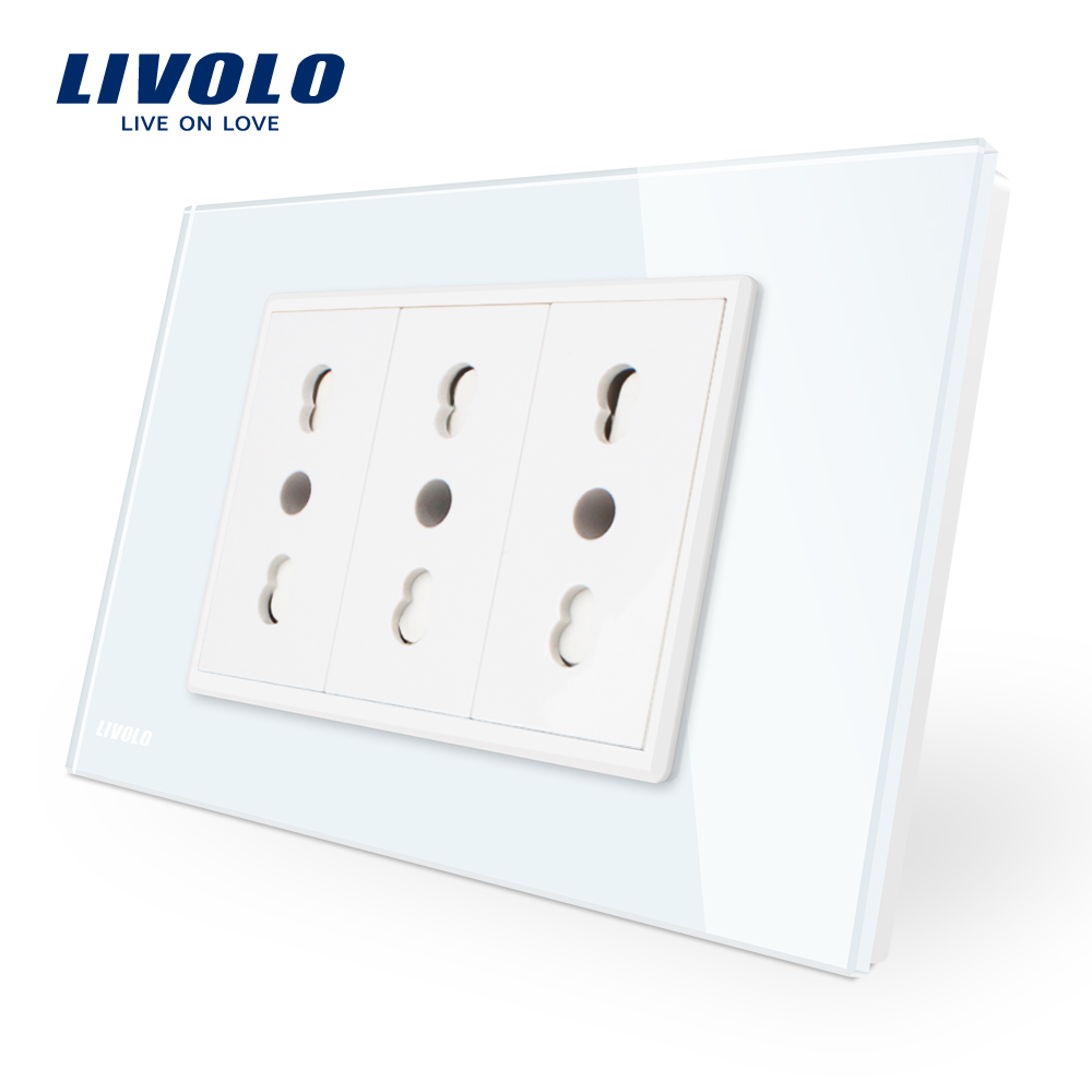 Livolo Italy Standard  3 Pins Socket, White Crystal Glass, 16A, 250V, Wall Powerpoints With Plug VL-C9C3IT-11