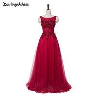 Elegant Burgundy Sleeveless Floor Length Evening Dresses Long Lace Flower Beaded Bride Banquet Formal Party Gown