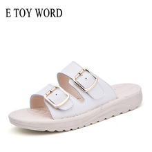 E TOY WORD 2019 new summer Korean leather flat sandals and slippers womens fashion thick-soled non-slip Beach lazy