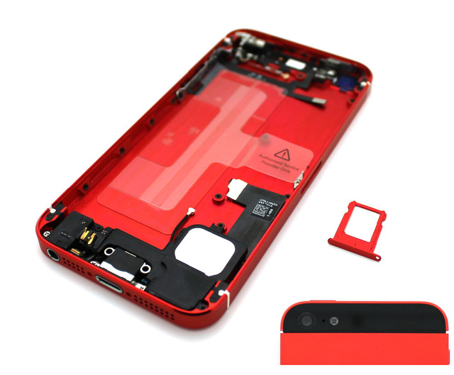 Vermelho/preto completa habitação tampa traseira porta da bateria completa montado quadro oriente assembléia peças de reposição para iphone 5