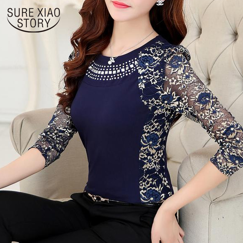 2018 Autumn Slim Patchwork Ladies Tops Plus Size Lace Blouse Shirt Women Long Sleeve Lace Tops Women S Tops And Blouses 901G 40