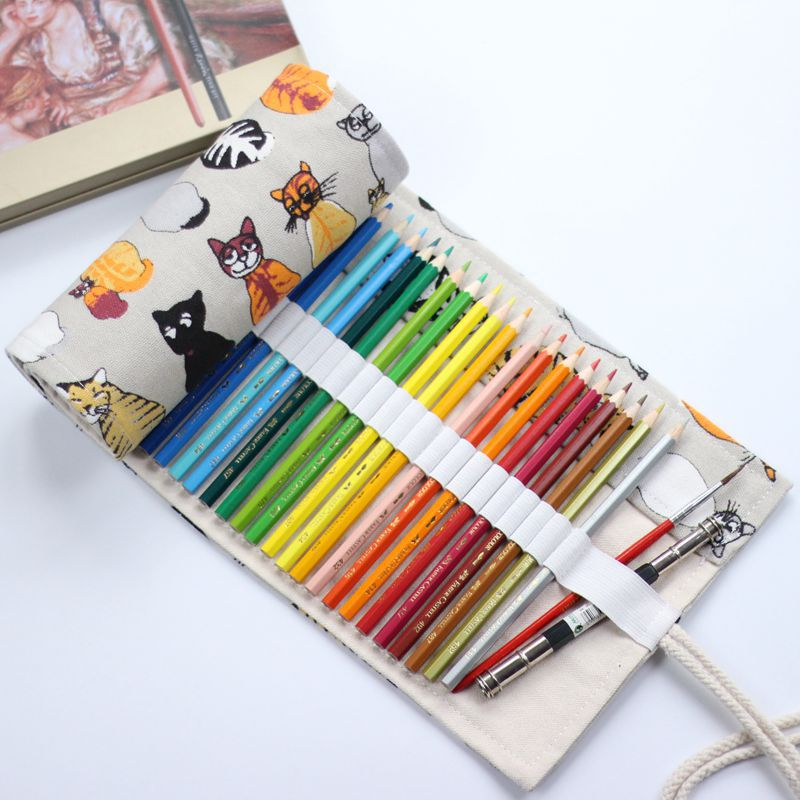 National Canvas cat School Pencil Case 36/48/72 Holes Roll Up Pencil Bag Portable Pencil Box School Supplies material escolar magnetic buckle up pencil case