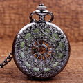 Luminous Dial Steampunk Hollow Cover Analog Skeleton Hand Winding Mechanical Pocket Watch for Men