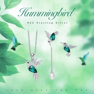Image 2 - Cdyle 925 Стерлинговое Серебро, женское украшение, ожерелье и серьги в виде Колибри с кристаллом, подходит для вечернего платья, ювелирные изделия