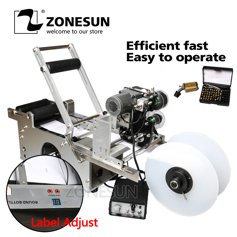 ZONESUN LT-50D Semi Automatic Labeling Machine Drugs Bottle Medicine Bottle Labeling Machine With Date Printer Printing eco mt 50 semi automatic round bottle labeler labeling machine 120w 20 40pcs min