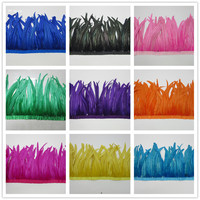 wholesale 100 Yards Rooster Feather Trim Ribbons Coque Feather Trimming Feathers For Dress Skirt Carnival Costumes Plumes DIY