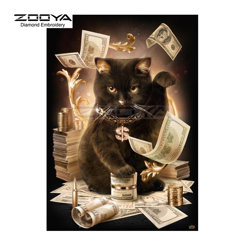 Cat With Cash Pattern Diamond Embroidery DIY Needlework Cross Stitch 5D Diamond Painting Full Drill Rhinestones Painting BJ104