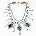 Free shipping Fashion fashion Alloy green semi-precious stones popular women short necklace  Summer accessories
