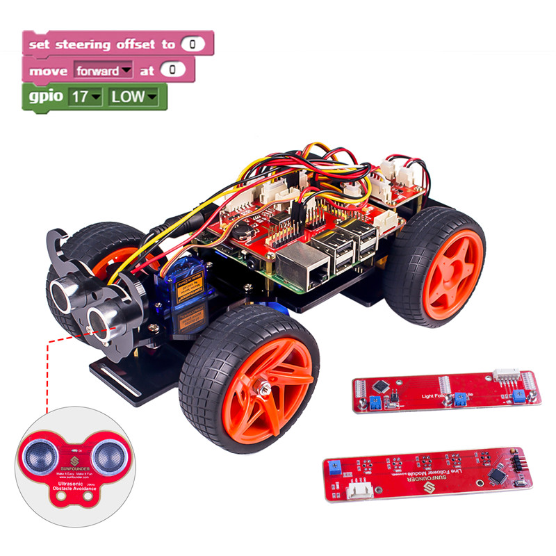 SunFounder Raspberry Pi Smart Robot Car Kit PiCar S Block Based Graphical