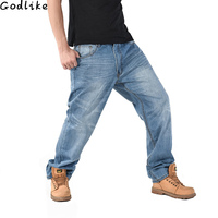Large Size Men Fat Jeans Cotton Increasethe Waist Jeans High Quality Stretch Washed Straight Trousers Relaxed