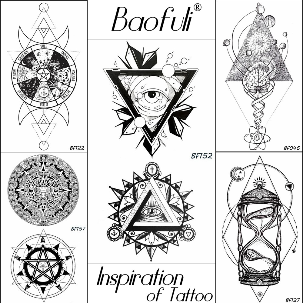 25 Pattern Men Totems Temporary Geometry Triangle Tattoo Black Waterproof Eye Fake Tattoo Round Arm Body Leg Art Tatoos Stickers