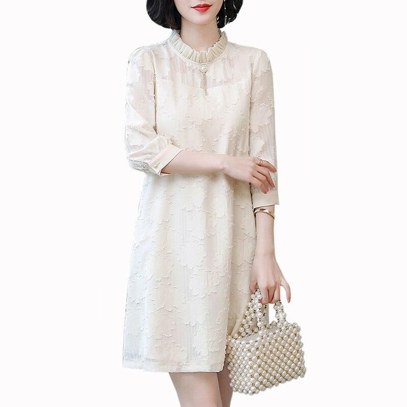 2019 printemps nouveau mousseline de soie a-ligne robe femmes bureau dame dentelle grande taille XXL robe automne lâche Stand robe femmes