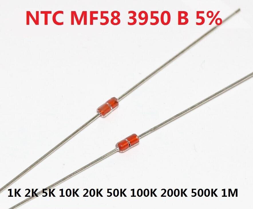 Бесплатная доставка 20 шт тепловой резистор NTC MF58 3950 B 5% 1K 2K 5K 10K 20K 50K 100K 200K 500K 1M 1/2/3/5/10 /K Ohm R датчик термистора