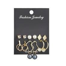 Elegant Pearl Tassel Flower Crystal Geometric Stud Earrings Set Fashion For Women Jewelry Gift