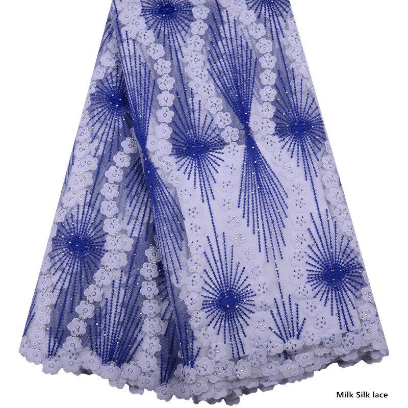 Telas de encaje azul africano 2019 de alta calidad de seda de leche de novia bordado de encaje de malla francesa nigeriana para boda-in encaje from Hogar y Mascotas    1