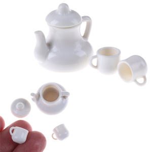 Mugs 1:12 Dolls House Miniature Cups & Pot Set Direction Furniture Toys Plactic Coffee Tea Cups Dollhouse Accessory White(China)
