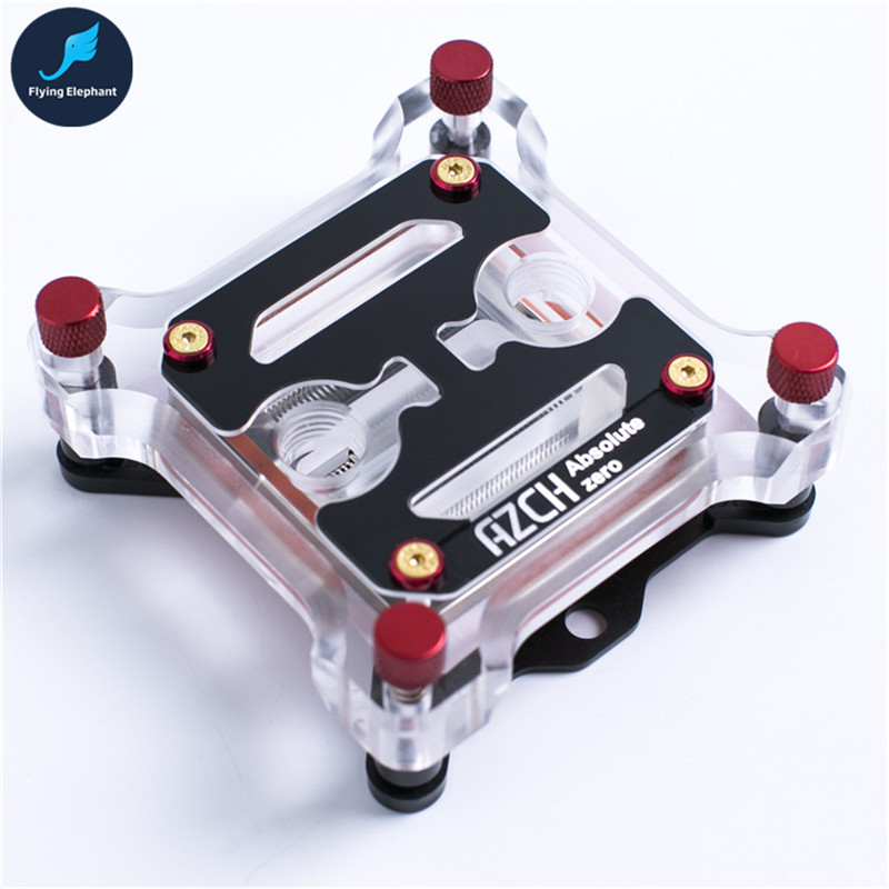 Transparent Acrylic computer water Cooling CPU Water block 60mm x 60mm copper radiator for Intel 115x 1366 2011 1 5u server cpu cooler computer radiator copper heatsink for intel 1366 1356 active cooling