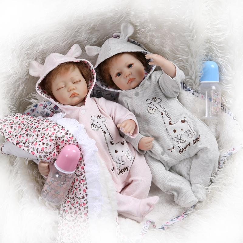 kawaii twins 16 inches Handmade reborn dolls 40 cm soft silicone vinyl baby dolls princess reborn bonecas nice clothing gifts