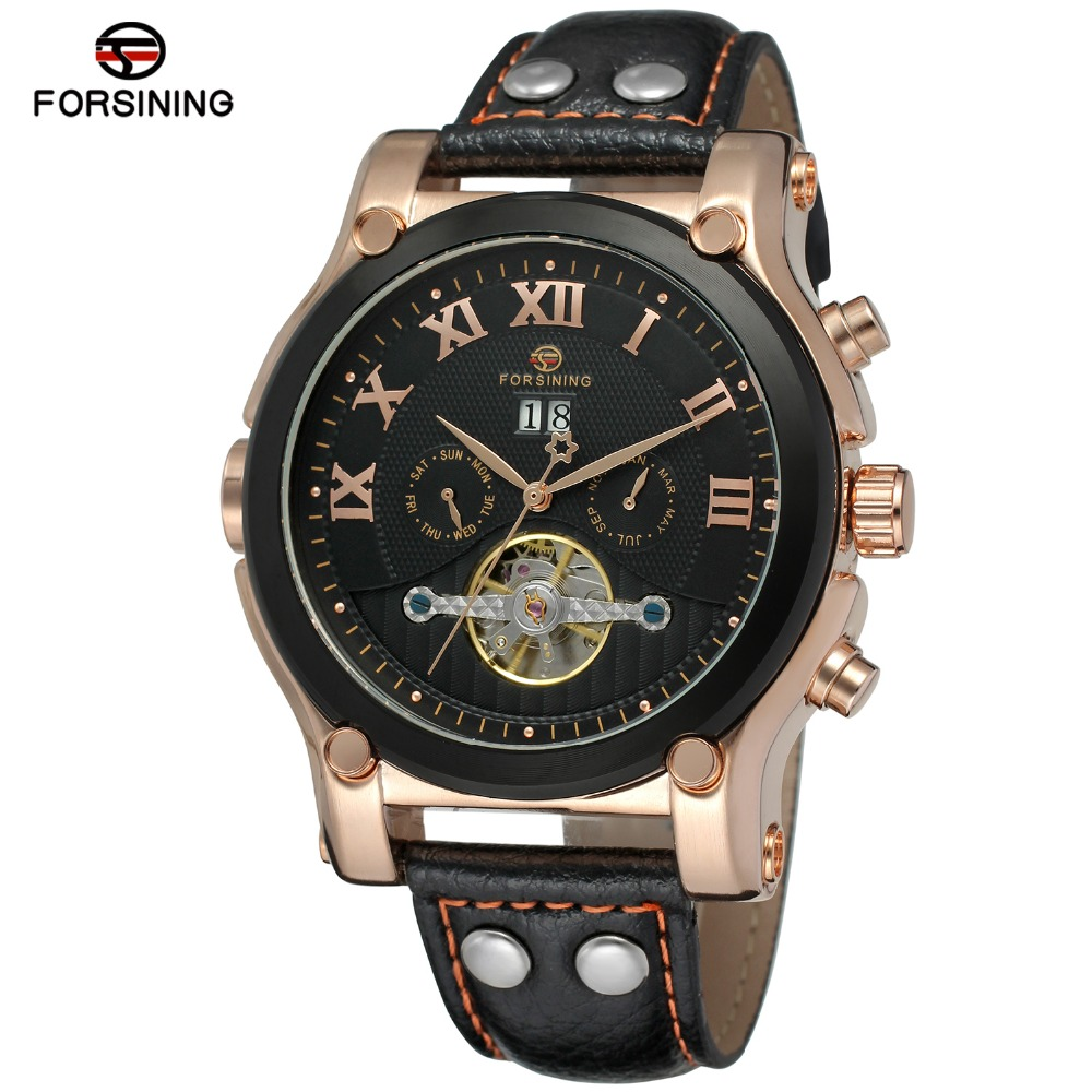 Fashion FORSINING Men Luxury Brand Genuine Leather Strap Casual Watch Automatic Mechanical Wristwatches Gift Box Relogio Releges fashion winner men luxury brand date leather band casual watch automatic mechanical wristwatches gift box relogio releges 2016