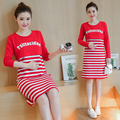 2016 Autumn striped long-sleeved loose maternity dress pregnant women fake two striped skirt lactation