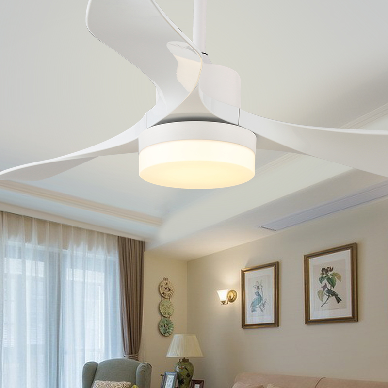 AC220V 24W Led Ceiling Fan Light Fashion Tri-color Change Living Room Restaurant Cafe Cool LED Lighting with Remote Control