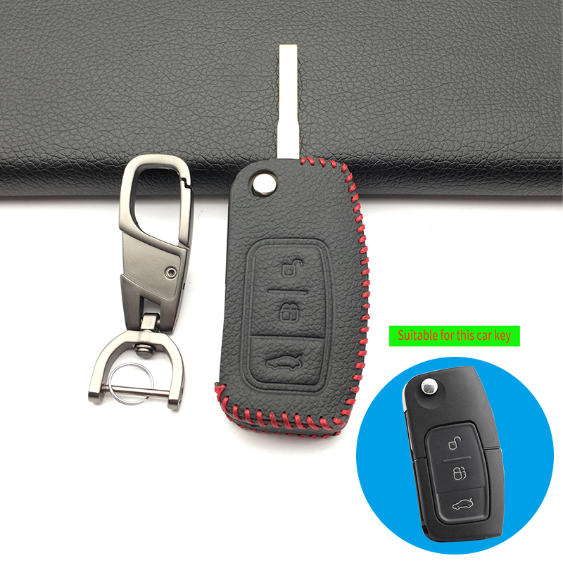 For Ford Fiesta Focus Kuga Escape Ecosport 100% Leather Case Car Key Cover 3 Buttons Flip Folding Shell Remote Key Styling Case