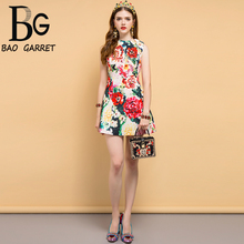 Baogarret Summer Vacation Fashion Runway Elegant Dress Womens Sleeveless Casual Floral Printed Beading Mini Short