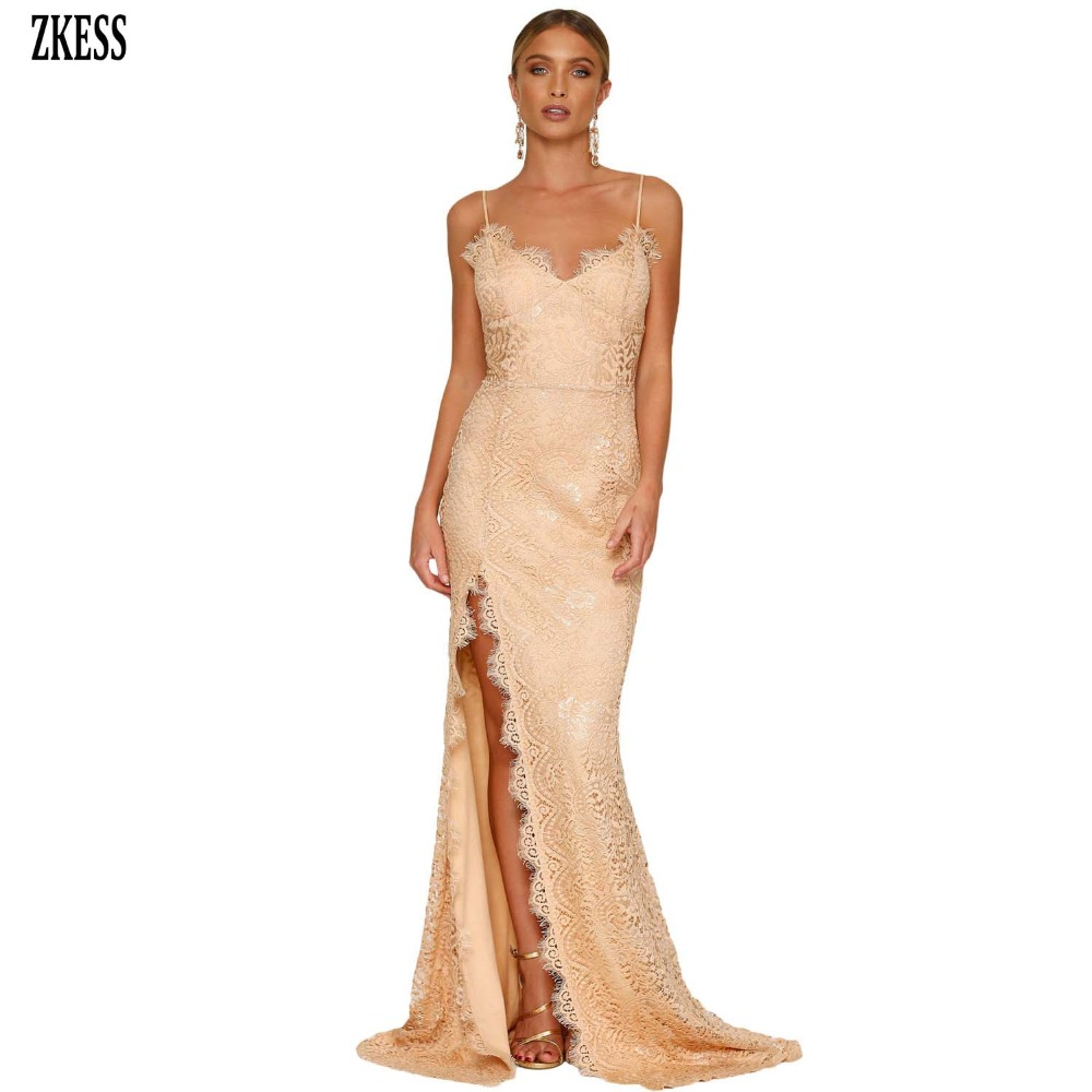 Zkess Women Nude Black Lace Bodice Empire Backless Party Gown Dress Sexy  Shoulder Strap Sleeveless Slit 6ccc5b929faa