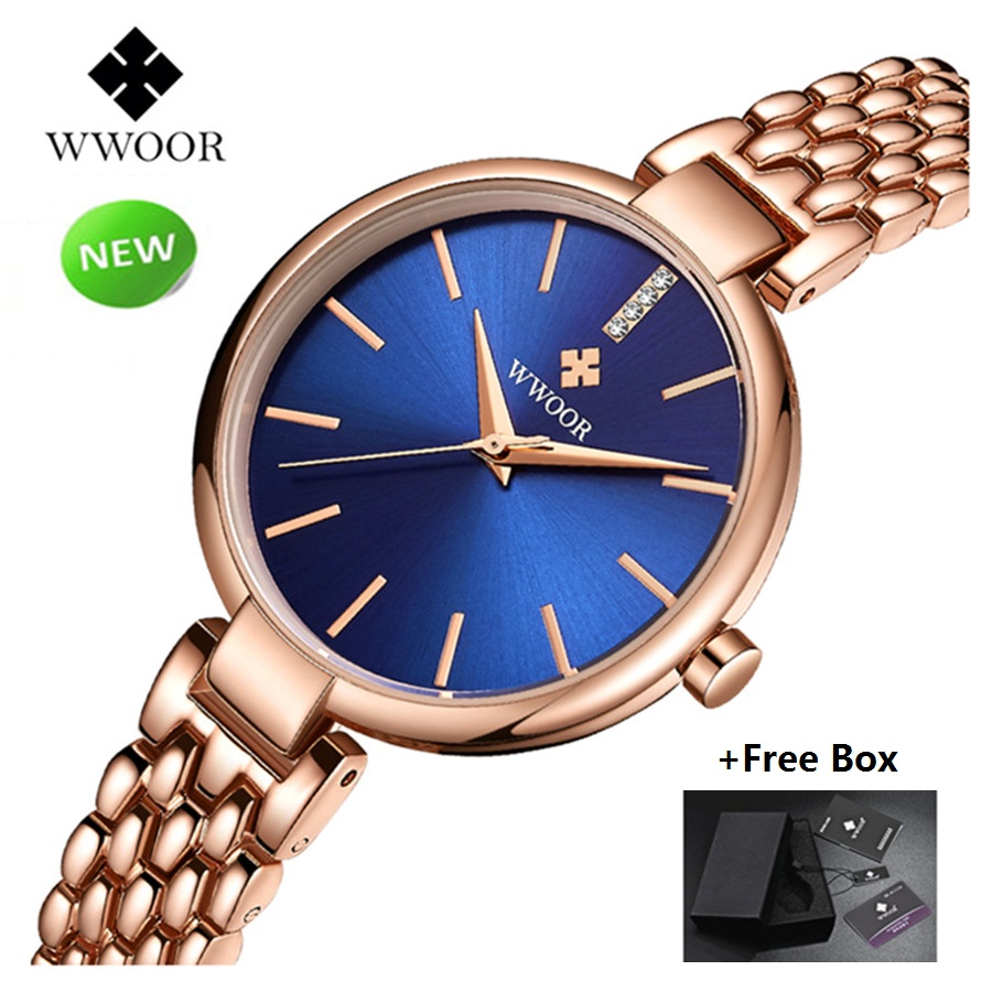 New WWOOR Women Watches Waterproof Dress Quartz Watch Stainless Steel Rose Gold Bracelet Watch Ladies Wrist Watches reloj mujer reloj mujer gold watch women luxury brand new geneva ladies quartz watch gifts for girl stainless steel rhinestone wrist watches