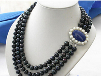 wholesale good 3row black ROUND FRESHWATER CULTURED PEARL NECKLACE silver jewelry