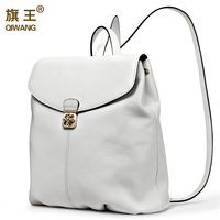 Qiwang 2016 New Fashion Genuine Leather Backpack Cow Leather Backpack Schoolbag Purse College Bag QW8366 BIG