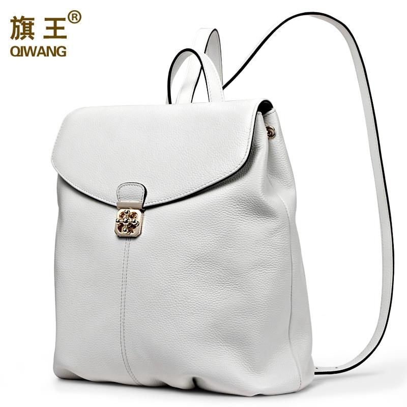 ФОТО QIWANG Genuine Leather Women Backpack Soft Real Leather Backpack Summer Fashion Female Backpacks for Teenage Girls