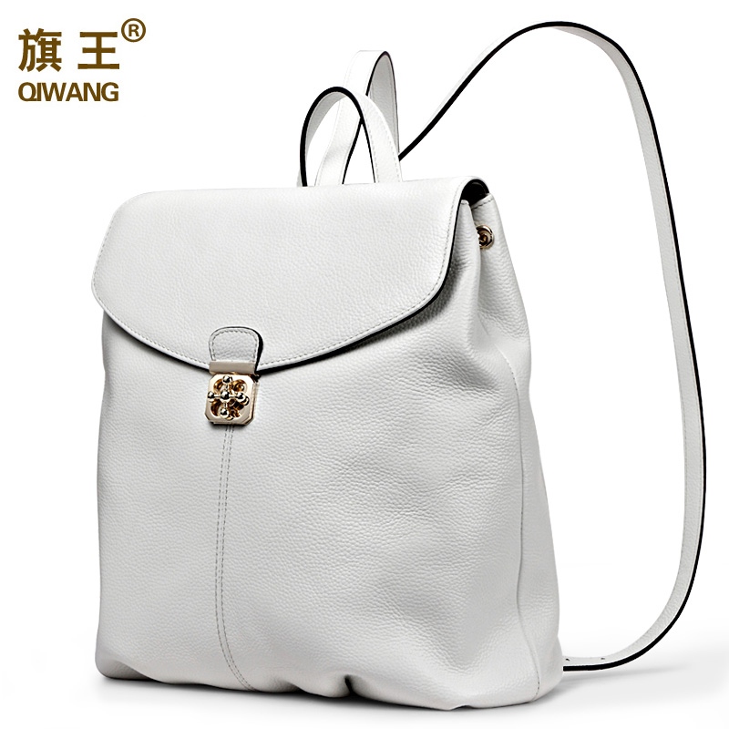 QIWANG Genuine Leather Women Backpack Soft <font><b>Real</b></font> Leather Backpack Summer Fashion Female Backpacks for Teenage Girls