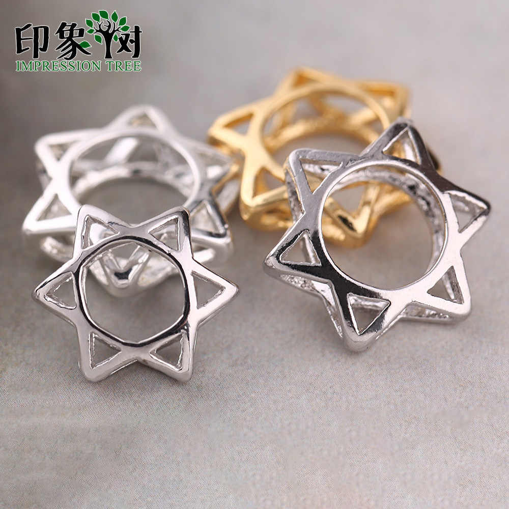 100/% 925 Sterling Silver Craft Hollow Spacer Beads 7.5 9.5 12.5 13.5 15.5mm Fashion Star of David Charm Beads Diy Jewelry Making