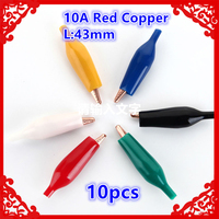 10pcs Lot 10A 43mm Red Copper Alligator Clip Cable Wire Battery Crocodile Clips Electrical Clamp Tester