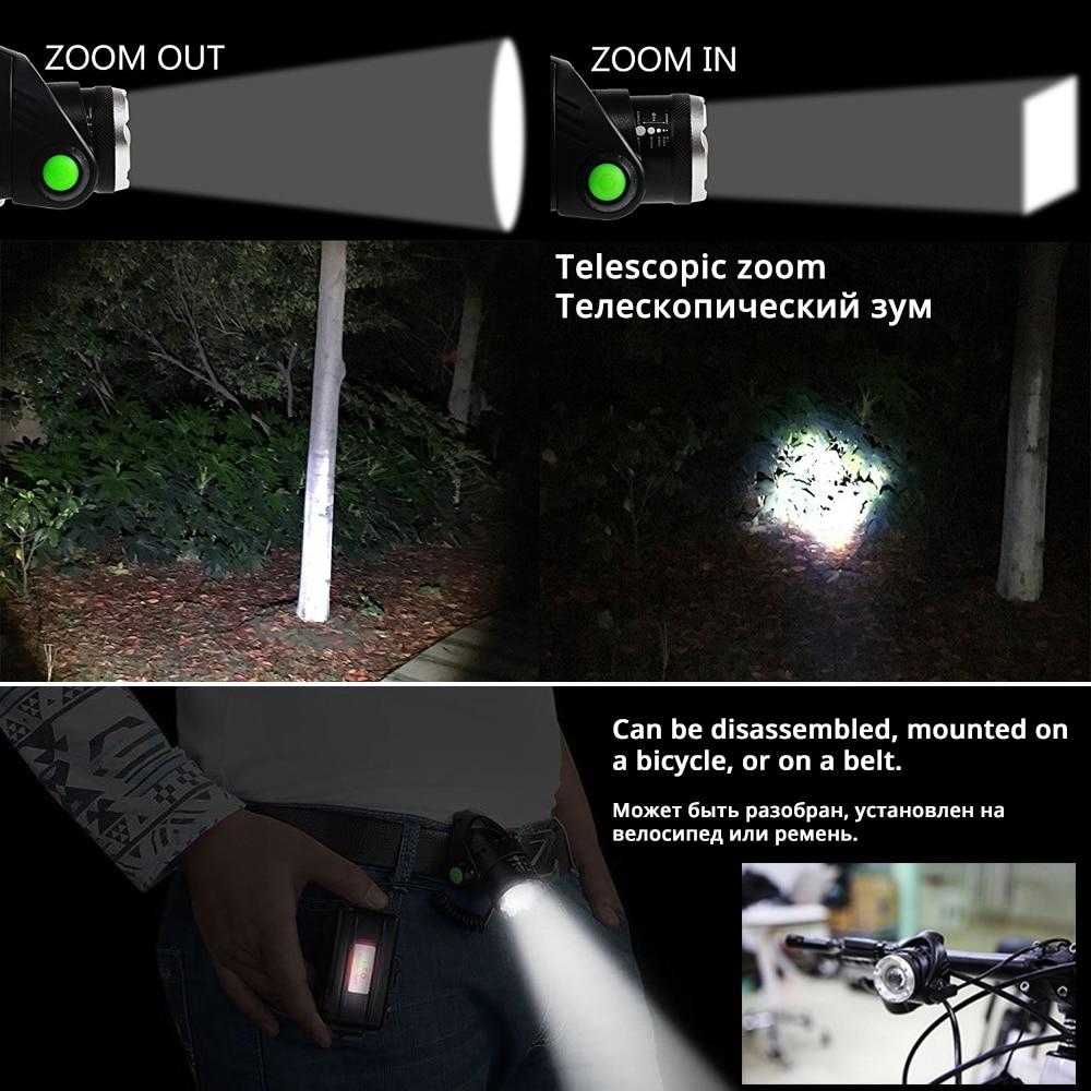 Image 5 - Farol de pesca led t6/l2/v6 3 modos zoomable à prova dwaterproof  água luz acampamento brilhante super alimentado por 2x18650  bateriasflashlight head lamphead lamphead lamp 18650