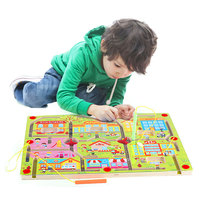 Montessori Materials Sensorial Magnetic Puzzle Board Intellectual Jigsaw Board Toy Wooden Puzzle Board Early Learning UD1764H