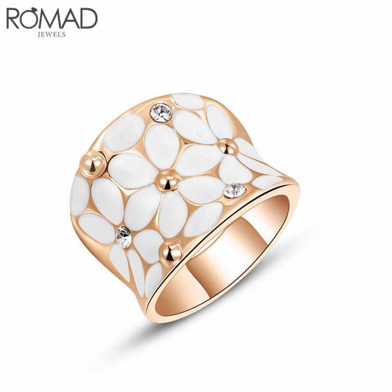 GS Top Quality Austrian Crystal Women Rings Rose Gold Color Flower Rhinestone Rings for Women Ladies Stainless Steel Men Ring R2