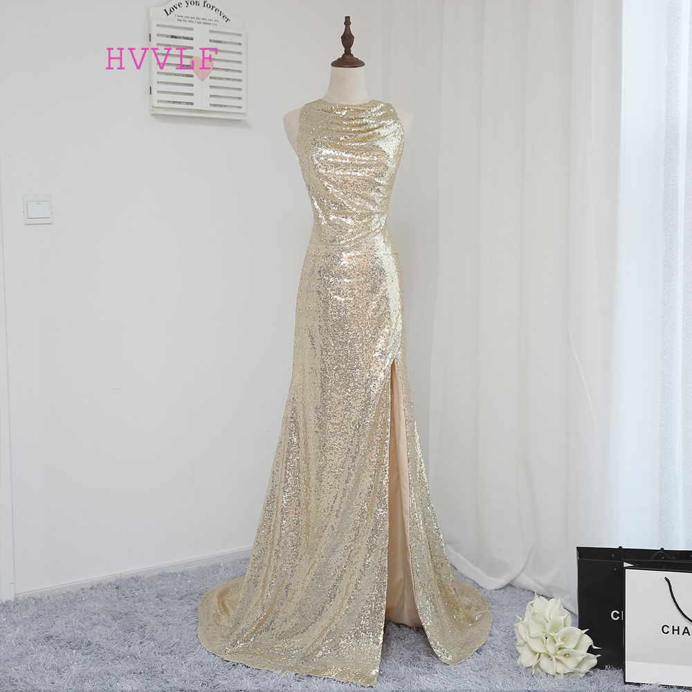 New 2019 Cheap   Bridesmaid     Dresses   Under 50 Mermaid High Collar See Through Champagne Sequins Slit Wedding Party   Dresses