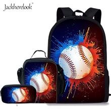 Jackherelook 3Pcs/Set Kids School Bags Baseballs 3D Printing Backpack Boys Girls Bookbag Child Satchel Children Book Bag Mochila
