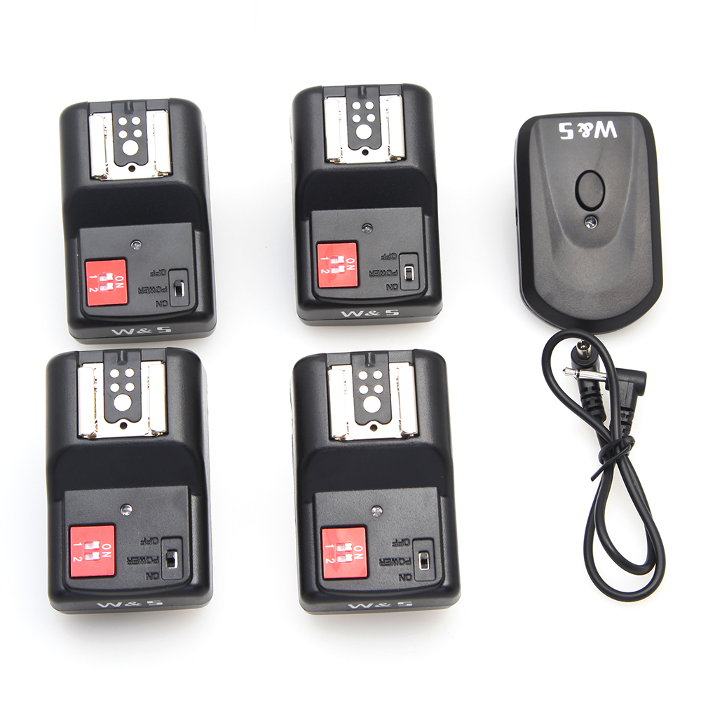 4 Channels Wireless Radio Flash Trigger Synchronizer SET with 4 Receivers for Canon Nikon Sigma Speedlite