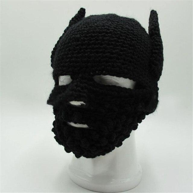 New Funny Handmade Knitted Beanie hat Batman Mask Hats For Men Women Winter Ski  Caps gorras hombre Creative Cap Halloween gift 33919e0c5ba