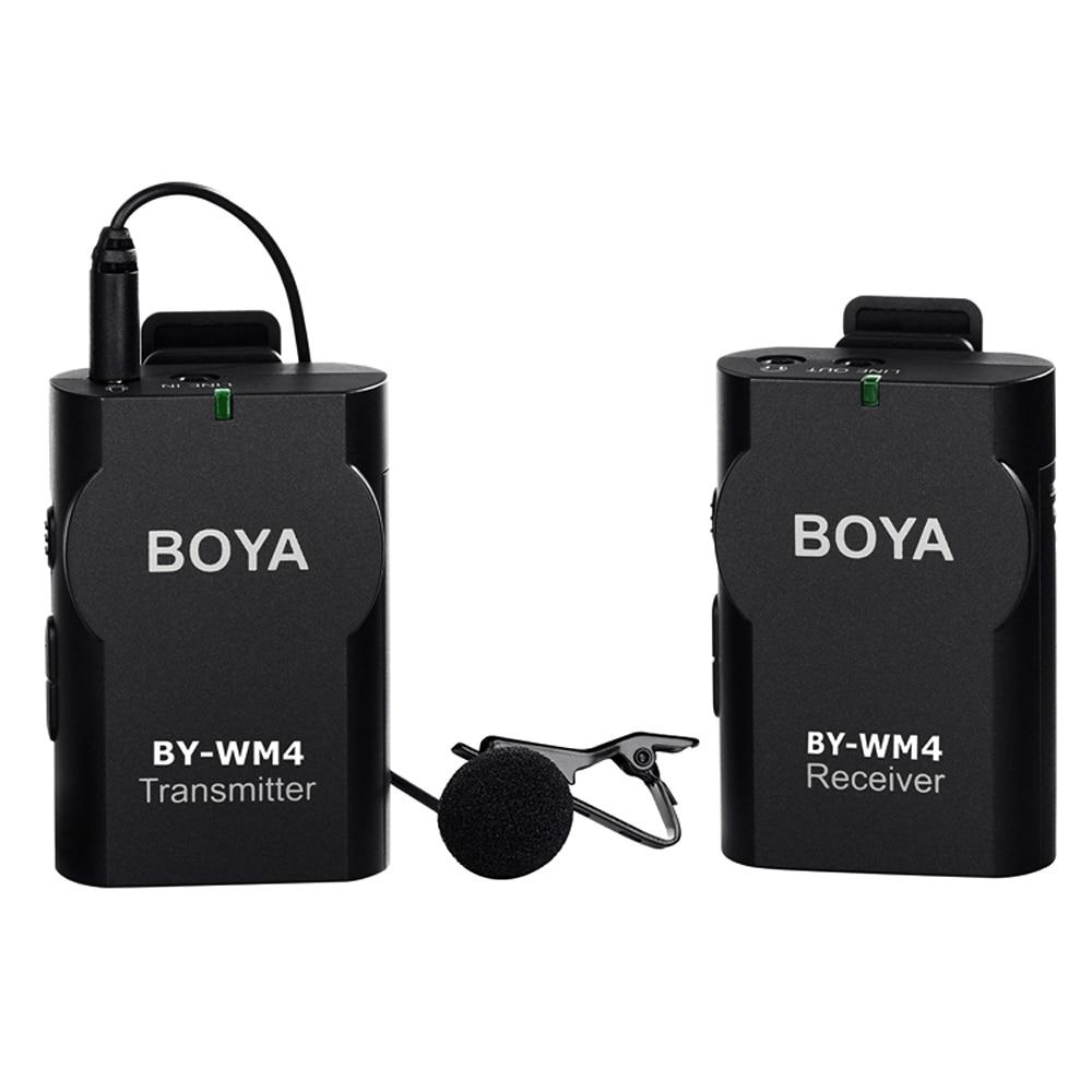 BOYA BY-WM4 Wireless Lavalier Microphone system for Canon Nikon Sony Panasonic DSLR Camera Camcorder iphone android smartphone by wm4 wireless lavalier microphone system for ios android devices for dslr camera camcorder pc