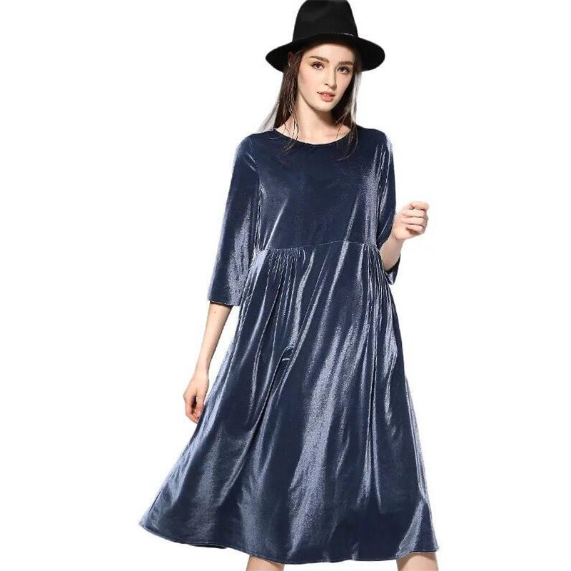 Large Size Hot New 2018 Women Spring Dress Pure Color Soft Casual Gold velvet Dresses Three Quarter Sleeve Solid Dress Vestidos