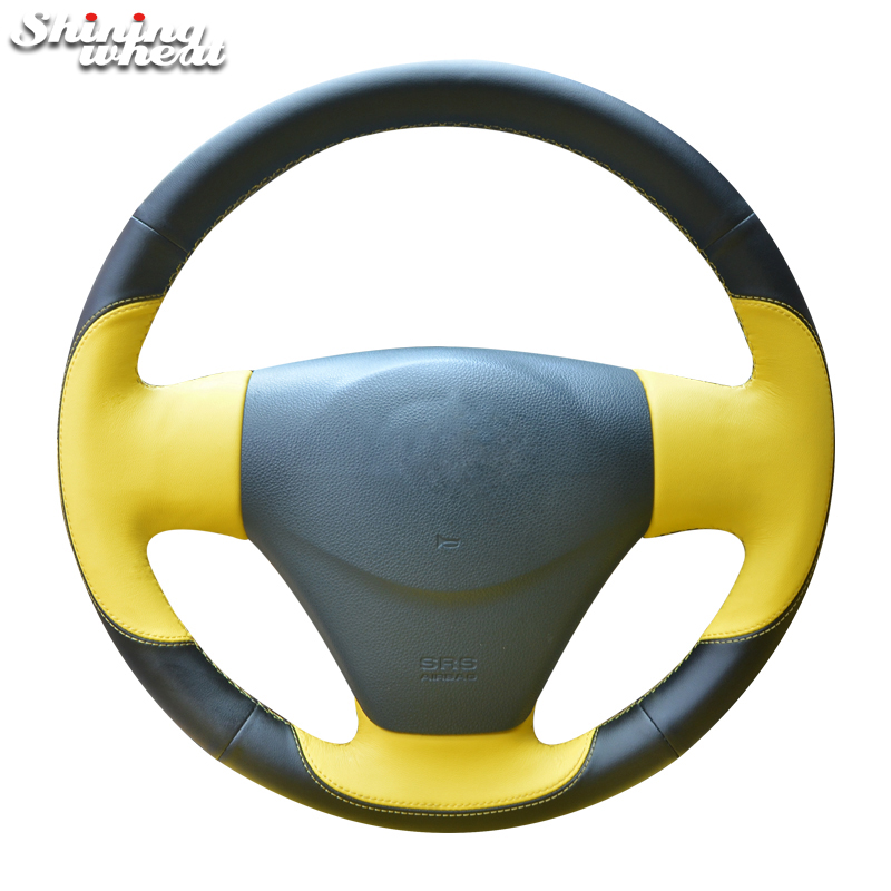 Shining wheat Genuine Leather Car Steering Wheel Cover for 2005-2009 Kia Rio 2007 Rio Hyundai Accent Hyundai Getz shining wheat black genuine leather car steering wheel cover for fiat bravo 2007 2011