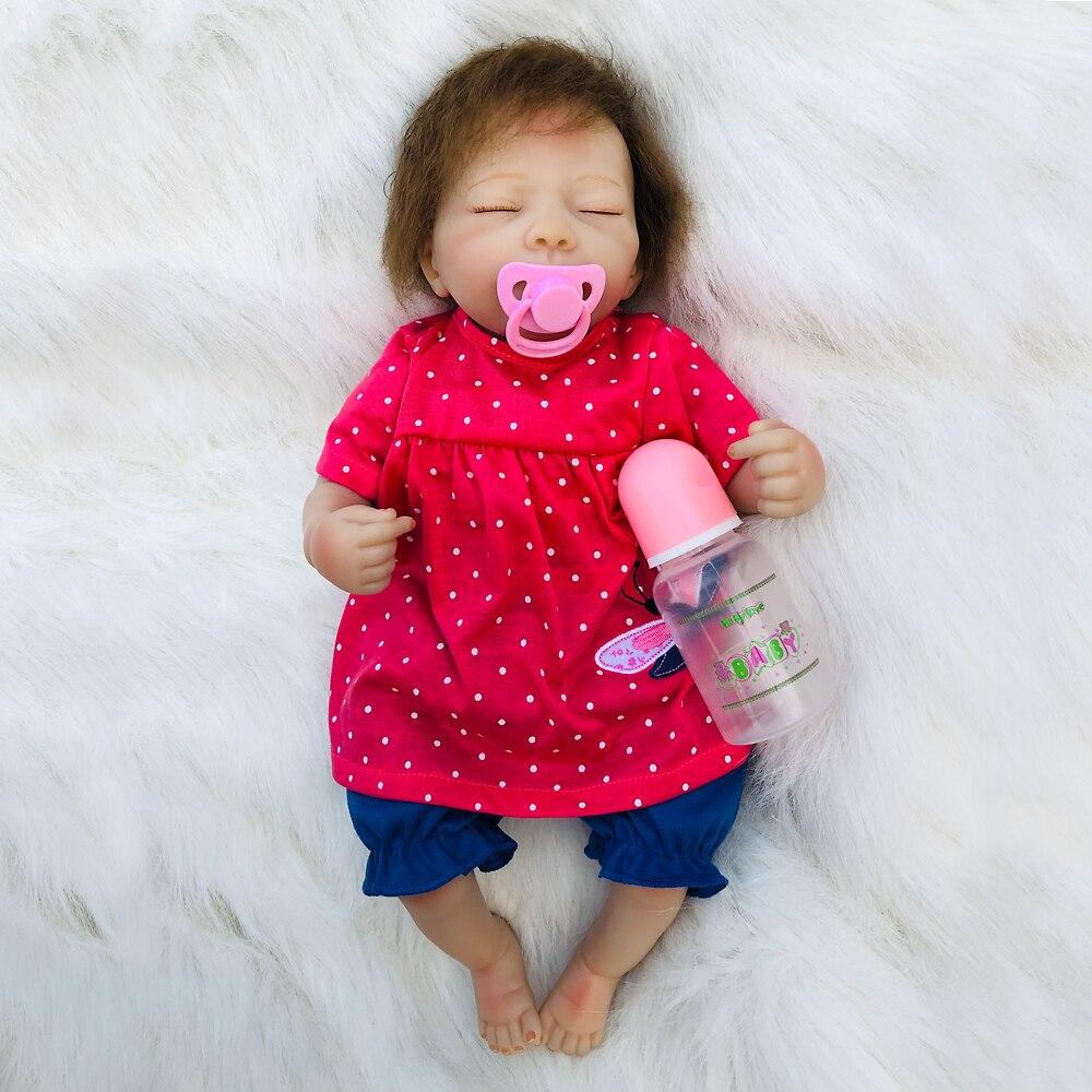 46 cm reborn silicone bébé poupées nouveau-né reborn modélisation dormir enfant en bas âge fille adorables poupées enfants cadeaux d'anniversaire poupée infantile