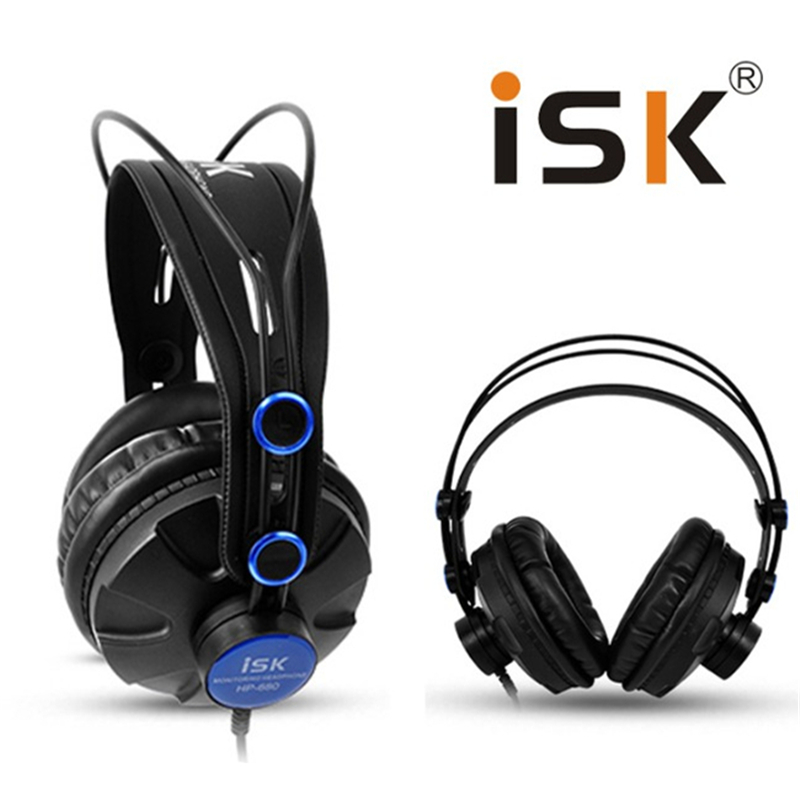 ФОТО Pro Monitor Studio DJ Headphones ISK HP680 Dynamic 1200mW Powerful Over Ear Earphone Noise Cancelling HiFi Headset auriculars
