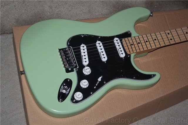 Factory Store Light Green Stratocaster Black Pickguard Maple Fretboard 6 String Electric Guitar
