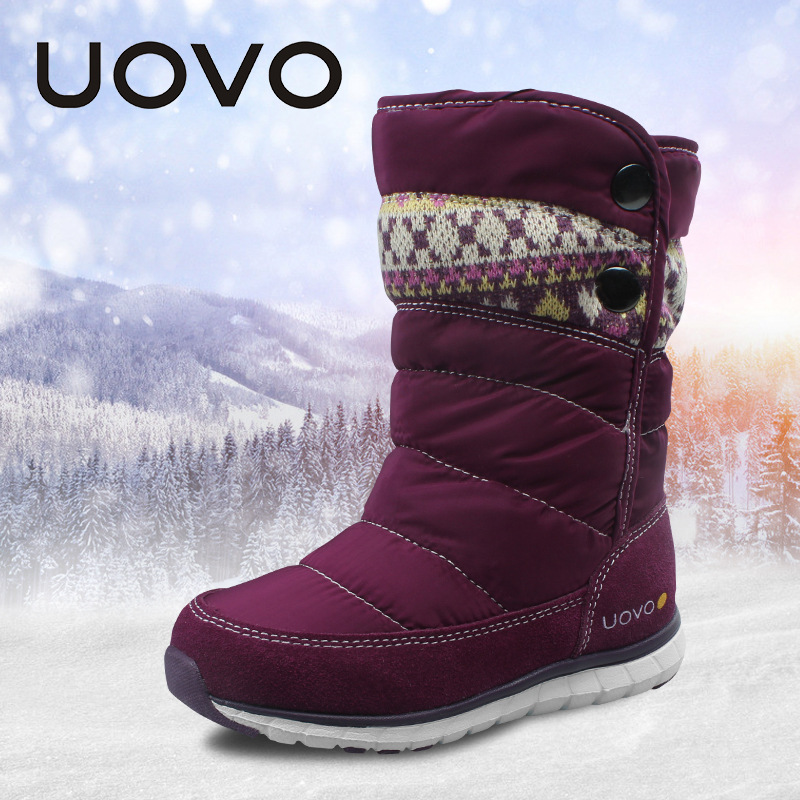 UOVO Christmas Winter Warm Children Medium Knitted Wool Snow Boots for Kids Girls Cow Suede Cotton Boots Shoes for 4-10T CCS027 uovo baby girls snow boots 2017 new faux fur plush kids high boots glitters children shoes soft sole winter boots for toddlers